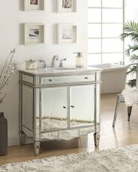 Carrara Marble Bathroom Designs Adelina 32 Inch Mirrored Bathroom Vanity White Carrara Marble