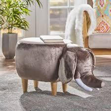 gray velvet elephant wood ottoman