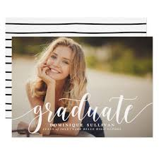 graduation announcement white modern calligraphy graduation announcement zazzle