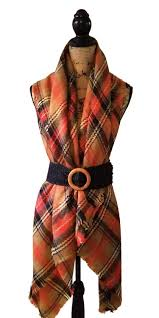orange navy black tartan plaid oversized blanket scarf u2013 mbeze