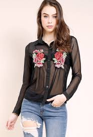 black button up blouse sheer floral applique button up blouse shop dressy at