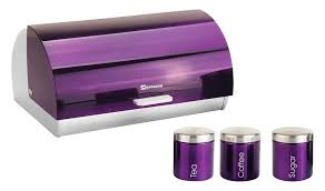 purple kitchen canisters sq professional gems metallic bread bin and canisters purple