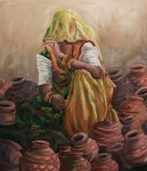 rajasthani woman paintings oil pots culture color