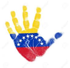 Veneuela Flag Venezuela Flag Palm Print Isolated On White Background Stock Photo