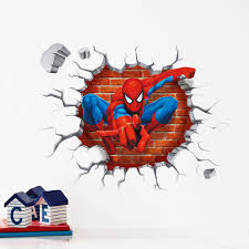 wall stickers home decor 3d cartoon spiderman wall stickers for kids rooms home decor kids