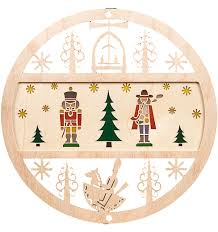 wooden window ornament with nutcracker and smoking man from