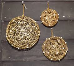 gold mesh ornaments set of 6 co de fiori naturally mossed