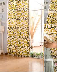 Yellow Patterned Curtains Cotton Living Room Leaf Pattern Curtains