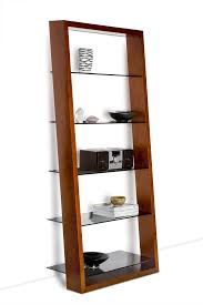 rustic wood leaning wall ladder bookshelf on green painted room