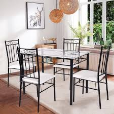 4 Chair Dining Sets Costway 5 Dining Set Glass Metal Table And 4 Chairs Kitchen