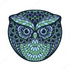Patterned Flying Owl Drawing Illustration Zentangle Stylized Owl Draw Patterned Illustration