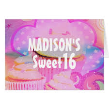 sweet 16 birthday greeting cards zazzle