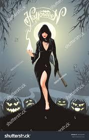 halloween greeting card woman cape stock vector 505326949