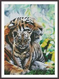 cross stitch pattern tiger family by zannacrossstitch