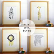 safari nursery art gender neutral baby animal prints