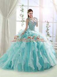 quinceanera dresses with straps beaded and ruffled straps quinceanera dress in white and aqua blue