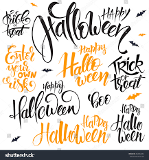 vector set hand lettering halloween quotes stock vector 482832652