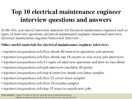 Electrical Maintenance Engineer Resume Samples Top10electricalmaintenanceengineerinterviewquestionsandanswers 150325075041 Conversion Gate01 Thumbnail 4 Jpg Cb U003d1427287894