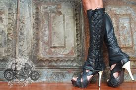 lace up motorcycle riding boots knee high lace up boots leather