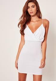 white bodycon dress strappy wrap textured bodycon dress white missguided