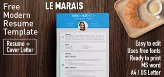 modern resume template word 2007 le marais free modern resume template