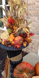 fall arrangement i use the artificial outdoor christmas tree