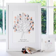 guest sign in book for funeral giclée guest book the fingerprint tree lovebirds wedding