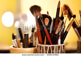 makeup artist equipment make table beauty salon professional brushes stock photo 699437881