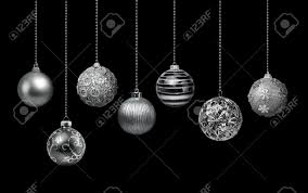 seven silver decoration balls collection hanging black