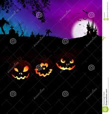 happy halloween scary night party concept with pumpkins stock