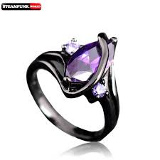 steunk engagement ring purple gem steunk stainless steel engagement ring black