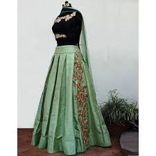 designer embroidered pista green lehenga