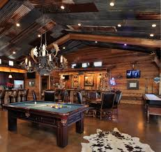 corrugated tin walls family room rustic with sloped ceiling game room