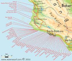 santa barbara california map santa barbara surfing in santa barbara united states of america