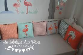 coussin chambre fille décoration chambre bébé flamant palmier étoiles nuages mint