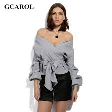 wrap shirts blouses gcarol 2017 slash neck bowknot blouse ruched sleeve wrap