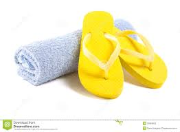 flip flop towel yellow flip flop shoes and towel isolated on white stock photo