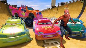 monster trucks lightning mcqueen spiderman lightning mcqueen and monster truck blaze disney cars spiderman