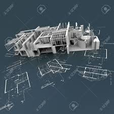 white building structure on top of technical blueprints stock