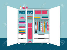 open wardrobe white tidy closet with clothes shirts sweaters