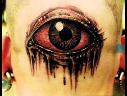 and black scary eye design