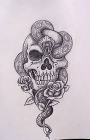 cross skull and snake tattoo sketch photos pictures and