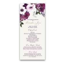 purple wedding programs purple wine watercolor flowers wedding programs