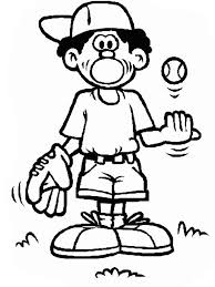 boy with baseball ball and glove colouring page happy colouring