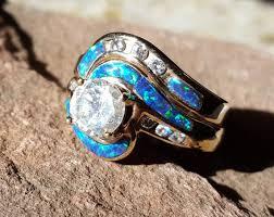 galaxy wedding rings grand galaxy diamond opal inlay 14k gold engagement ring and