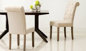Tufted Dining Chair Set Modern Roll Top Button Tufted Dining Chair Set 2 Groupon