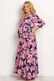 Light Pink Dress Plus Size Light Pink Floral Draped Plus Maternity Nursing Maxi Dress Plus