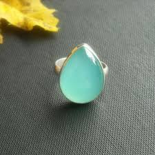 gemstones silver rings images Buy aqua blue chalcedony ring tear drop gemstone artisan silver jpg