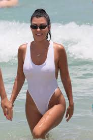 kourtney kardashian in swimsuit at a beach in miami 06 11 2017