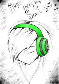 drawn headphone easy pencil and in color drawn headphone easy